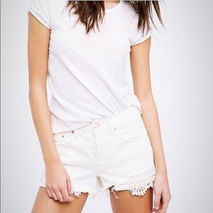 Free People Daisy Chain Lace denim shorts